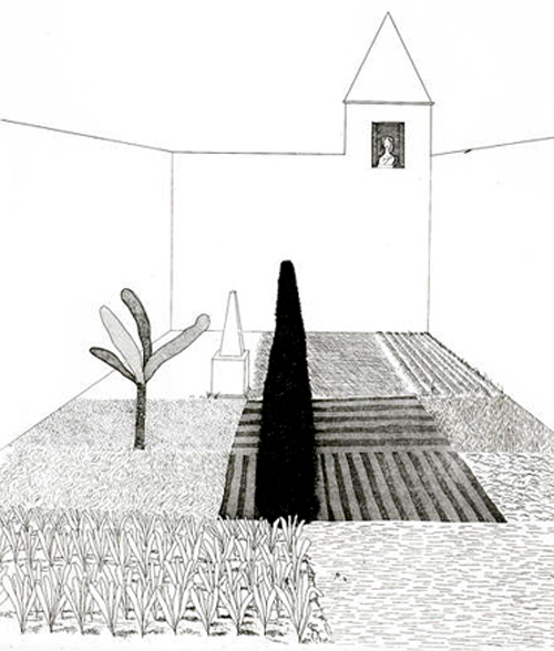 David Hockney - Rapunzel Growing in the Garden