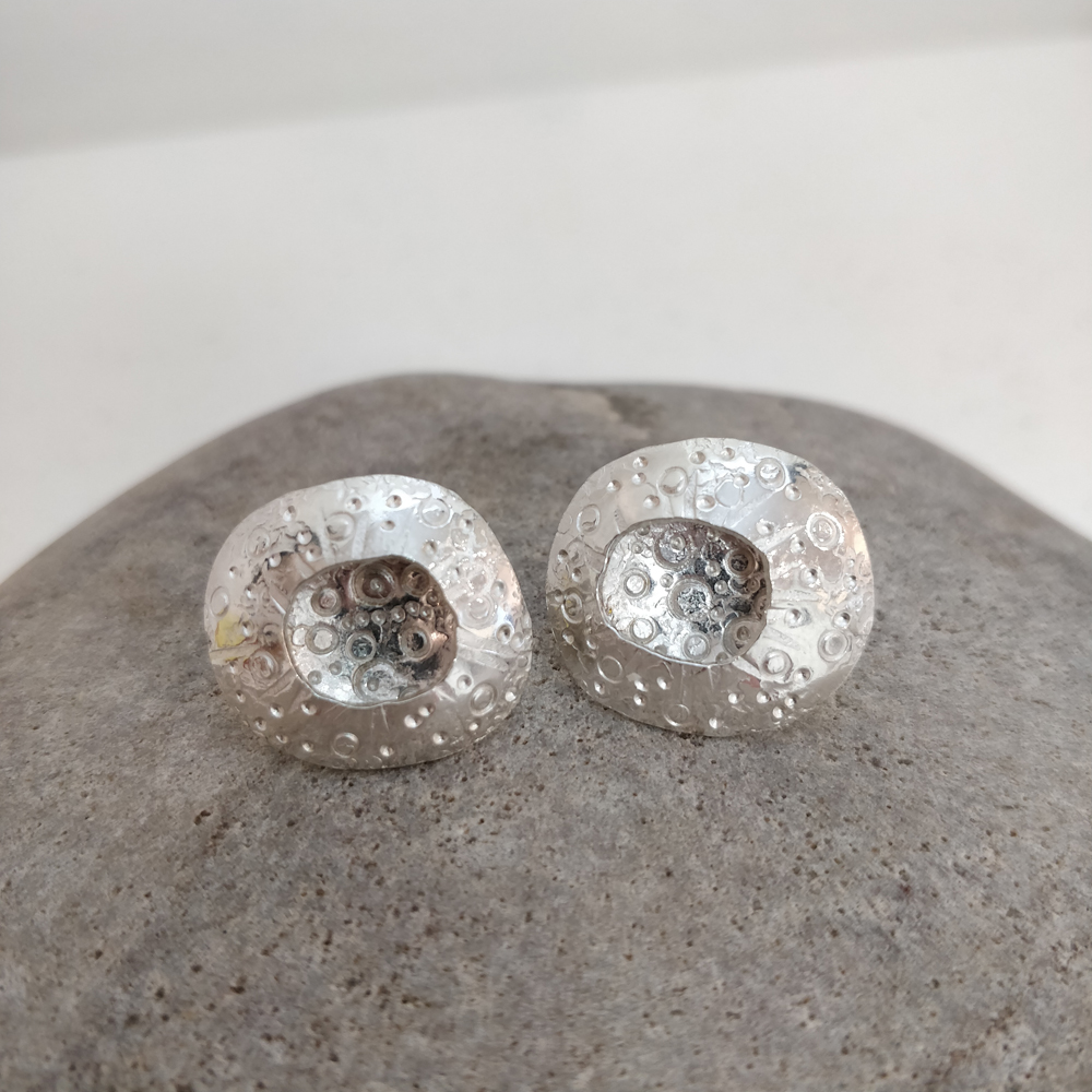 Bright limpet stud earrings