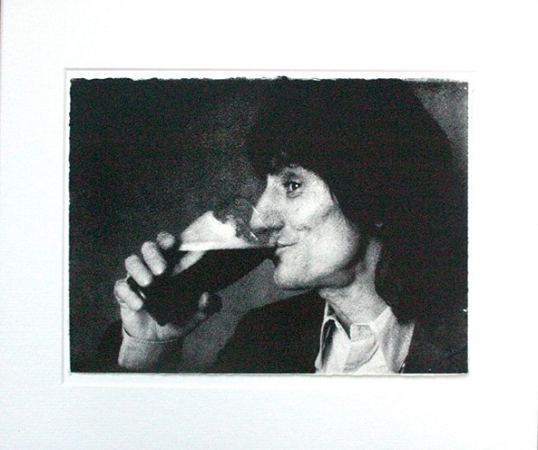 Ronnie Wood drinking