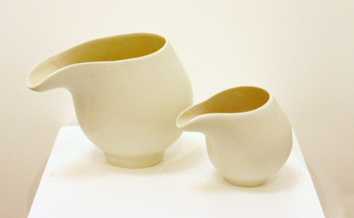 2 White Stoneware Jugs with Pink Glaze Interior