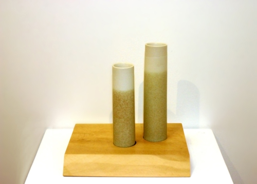 2 Stoneware Vessels on a Holly Base with Walnut Inlays