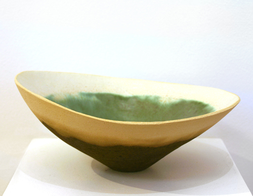Large Copper Green Bowl with Cream Rim