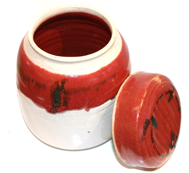 White & Burgundy Ceramic Container