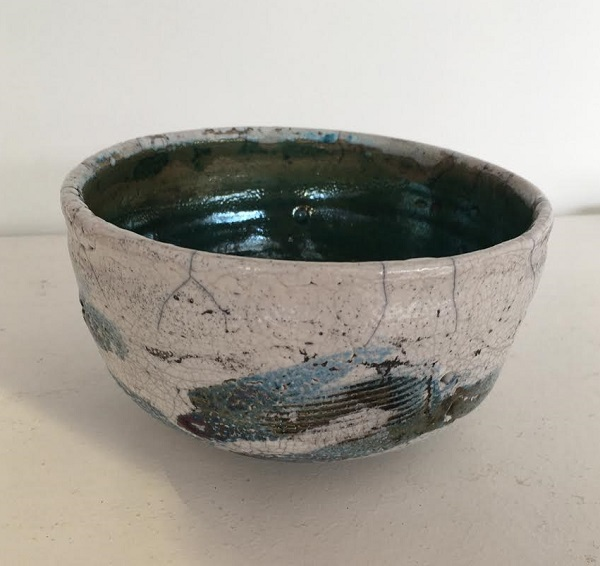 Large White Green Raku Bowl