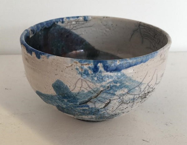 Large White Blue Green Raku Bowl