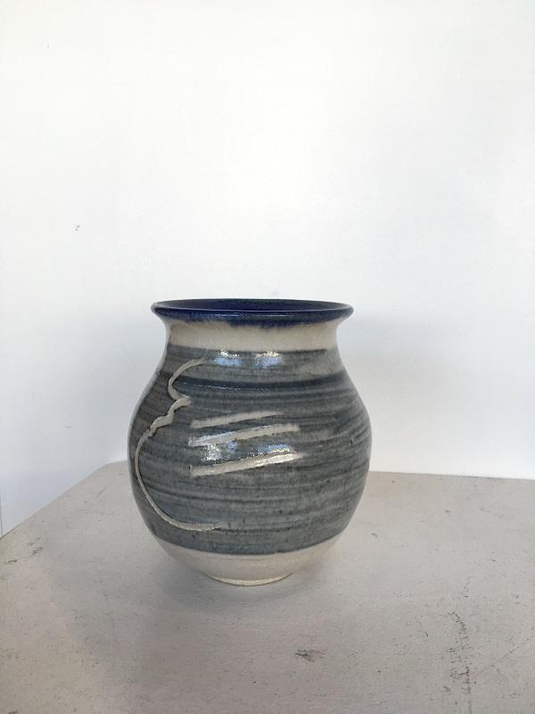 White Blue Medium Vase