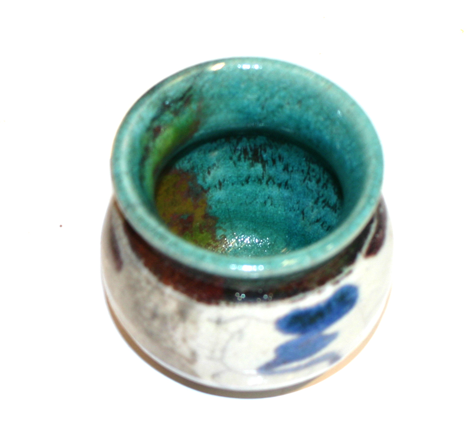 White Crackle and Turquoise Pot