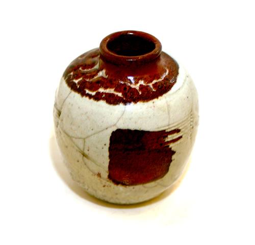 Short White Crackle Vase