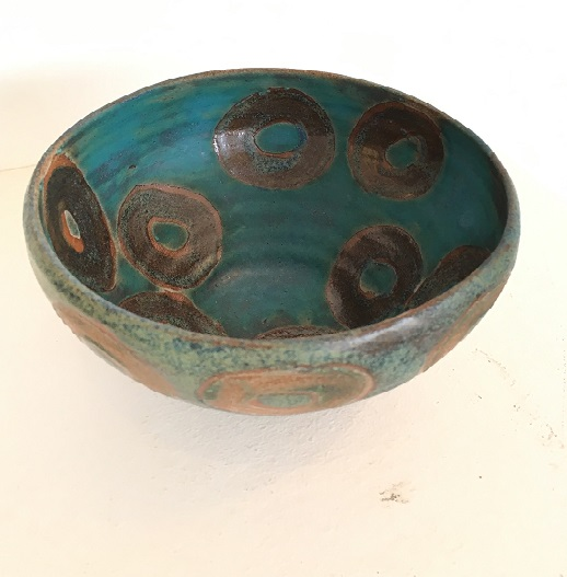 Deep Blue Bowl With Ring Pattern