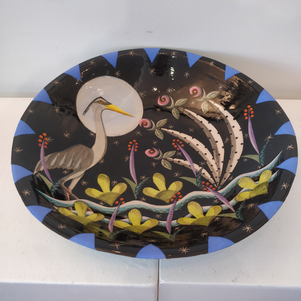 Moonlit Heron Large Bowl