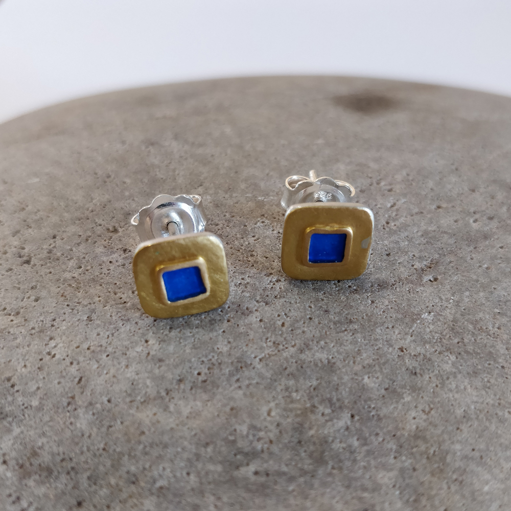 Earrings - Beaten gold and  bright blue squares.
