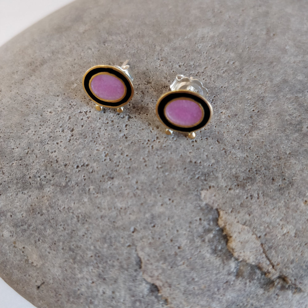 Earrings - Pink and black oval with gold balls