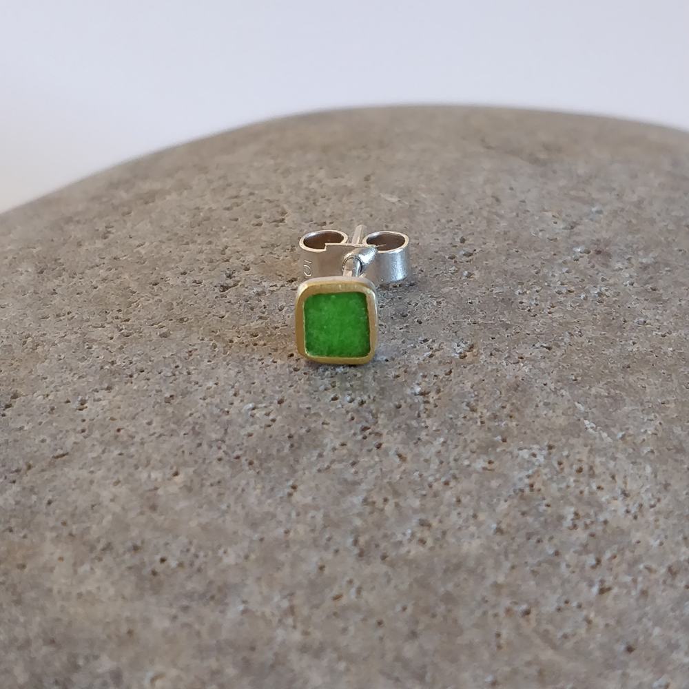 Earring stud - Lime square