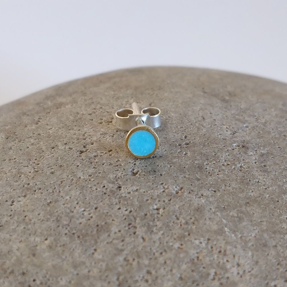 Earring stud - Turquoise Circle