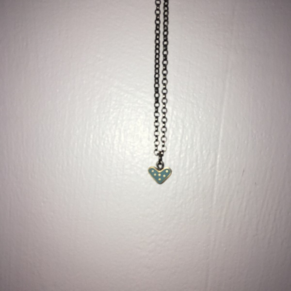 Small Turquoise Heart Pendant Chain with Gold Dots