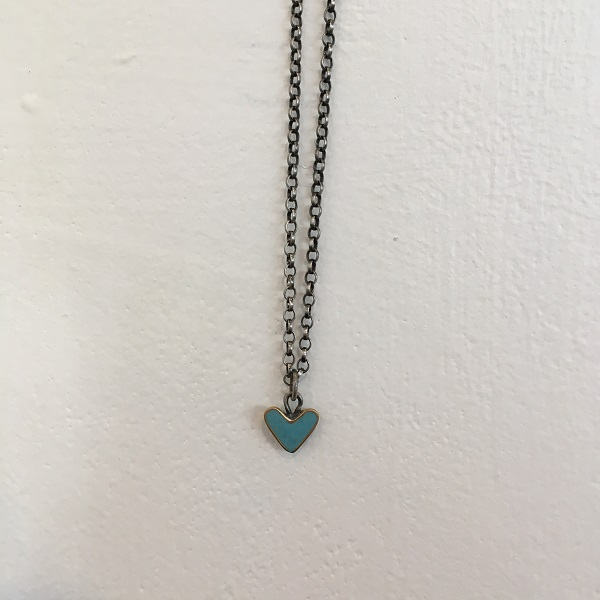 Small Turquoise Heart Pendant Chain