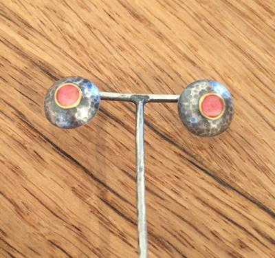 Pink Domed Stud Earrings
