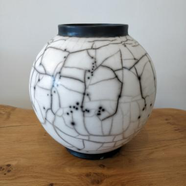 Naked raku Large Moon Jar