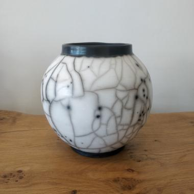 Naked raku medium Moon Jar