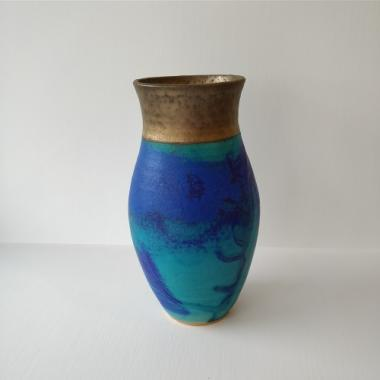 Medium blue and gold vase