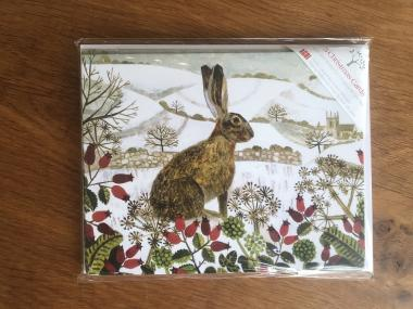Seated Hare in the Snow - Multipack of 15 Christmas cards