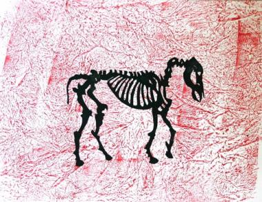 Black Horse on Red