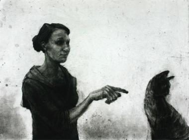 Woman Pointing and Cat