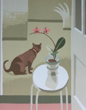 Still Life with Cat and Orchid