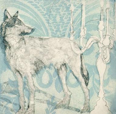 Wolf & Candelabra (Teal)