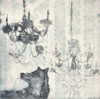 Wolf and Chandelier (Teal)