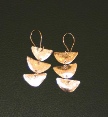 Three Half Moon Earrings