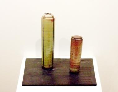 2 Raku Containers, Large Bound, Burgundy Glaze