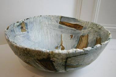 Hand built Grey Textured Bowl