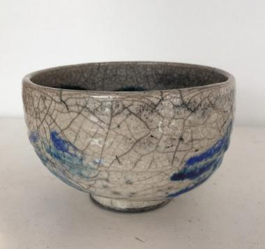 Large White Purple Raku Bowl