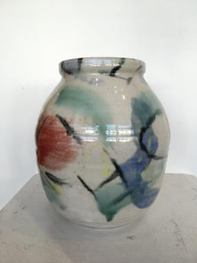 Large White Abstract Stoneware Vase