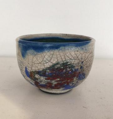 Small White Crackle Raku Bowl