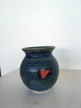 Small Blue Red Decorated Vase
