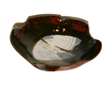 Fluted Stoneware Bowl - Brown/White