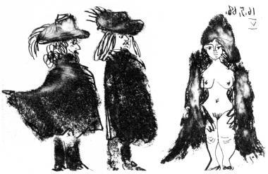 Cavalier et son Valet, et Jeaune Fille Vêtued