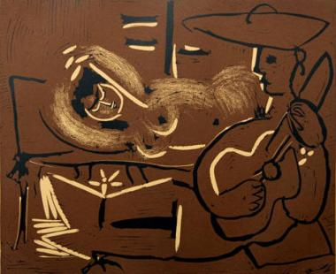Reclining Woman and Guitar Playing Picador