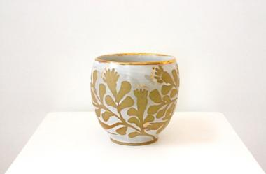 Gold Lustre and White Pot