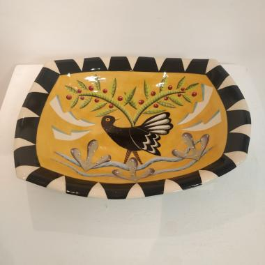Large Black Bird Rectangular Dish