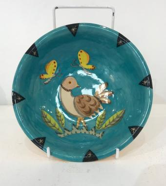 Small bird bowl with butterflies, blue