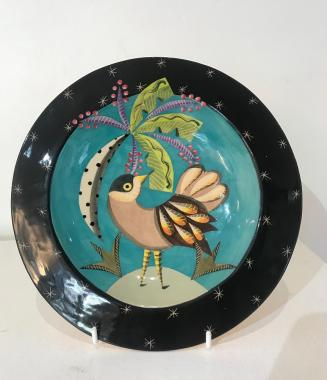 Small bird plate with a tree