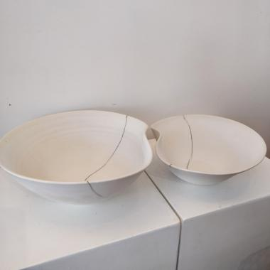 Large white body bowl with line.