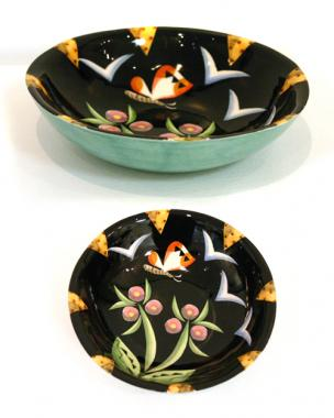 large Black flowered Bowl