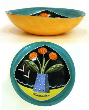 Green Flowered Bowl