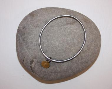 Gold heart with sliver bangle