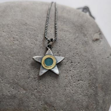 Turquoise and gold star necklace