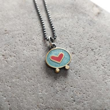 Turquoise and red heart necklace